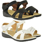 LADIES WOMENS COMFORT WIDE FIT CASUAL WALKING SUMMER SANDALS LOW WEDGE SIZE NEW
