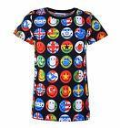 MOSCHINO COUTURE Smiley T-Shirt mit Flaggen Print Schwarz Black Baumwolle 04459