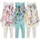 Girls Top & Leggings 2-Piece Set Kids Butterfly Print Chiffon Silk Dress 3-12 Y