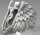 ARC ANGEL CROSS WING FEATHER ARTISTIC 925 STERLING SOLID SILVER MENS RING