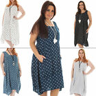 New Womens Italian Lagenlook Polka Dot Print Sleeveless Dress Plus Size 12 16 18