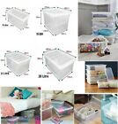 'Stackable Clear Plastic Storage Box Boxes With Lids Home Office Strong Uk Made