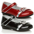 GIRLS KIDS CHILDRENS MARY JANE METALLIC DIAMONTE TWO TONE STRAP SHOES SIZE