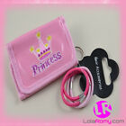 Girls Wallet Purse Embroidered 'PRINCESS' With 4 Elastics Pink + Hot Pink Hair