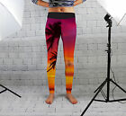 Sunset Palm Tree Design Womens Spandex Leggings Gym Fitness Yoga Made In Uk