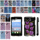 For LG Sunrise L15G Lucky L16C PATTERN HARD Protector Case Phone Cover + Pen