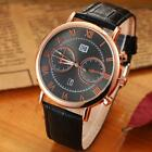 Luxury Men's Date Quartz Watches Analog Stainless Steel Leather Dial WristWatch
