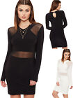 Womens Mesh Bodycon Keyhole Back Dress Ladies Long Sleeve Plain Stretch 6-12