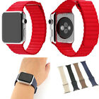 Genuine Leather Loop Type Watch Band Strap For Apple Watch 38/42mm iWatch Strap