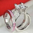 Womens Pink Sapphire Insert Bridal Wedding Engagement Ring Set 925 Silver