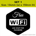 Free WiFi Stickers Wi-Fi Sign Decal Window Shop Cafe Restaurant Hotel Pub Bar