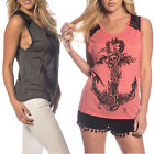 Women's Fashion Punk ROCK Anchor Tatoo Sleeveless Lace T-Shirt Tank Top Vest