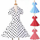 Swing Pin Up Vintage Retro Womens Short Sleeve Housewife Picnic Summer Dresses