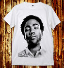 Full Donald Glover Childish Gambino Bino Troy Barnes U&V-Nack White Gray T-Shirt