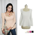 Hot Vintage Women Puff Peplum Top Low-cut Flouncing Slim Fit Shirt Blouse Tops
