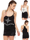 Womens Aztec Bib Crop Top Ladies Sleeveless Print Strappy Basic Round Neck 10-16