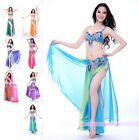 C863 Belly Dance Costume Outfit Set Bra Top Belt Hip Scarf Skirt Bollywood