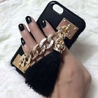 Chain Strap Holder Tassel Leather Skin Hard Case Cover for iPhone 6/6S/6S Plus
