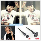 1PAIR G-DRAGON GD BIGBANG titanium steel EARRGINGS BLACK KPOP NEW