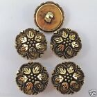 5 x Antique gold colour gilt flower buttons sizes 13mm & 15mm shank on back