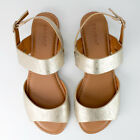 Women's Gold Two Strap Open Toe Sandals Bamboo Candace-69M