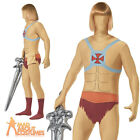 Adult He-Man Second Skin Costume Mens Superhero Stag Fancy Dress Outfit New
