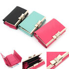 Women's Genuine patent leather trifold wallet with cubic ribbon kiss lock