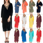 New Womens Batwing Style Diamante Studded V-Neck Midi Kaftan Dress One Size