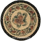 "Pinecones & Pine Boughs 15.5"" Round Braided Jute Chair Pad"