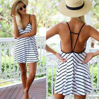 Women Sexy Summer Backless Casual Evening Party Cocktail Short Striped MiniDress