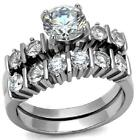 Size J L N P R T Round Engagement Ring WEDDING SET Stainless Steel LTK2869F