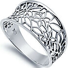 New 925 Sterling Silver Open Cut Flower Floral Vintage Style Band Ring Size 3-13