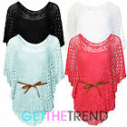 NEW WOMENS LADIES ONE SIZE BATWING SLEEVE CROCHET BELT TIE MESH VEST TOP 2 IN 1