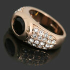 18k Gold Plated Black n Clear Crystals Women Wedding Bridal Engagement Ring R132