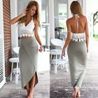 Women V-Neck Halter Lace Patchwork High Waist Front Split Hem Bodycon Dress TXSU