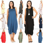 Womens Italian Lagenlook Baggy Quirky Sleeveless Plain Midi Dress Size 12 14 18