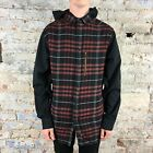 Krew Torrence New Long Sleeve Checkered Shirt Hooded Burgundy size S,M,L