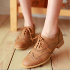 New Women Plus Size Lace Up Wing Tip Oxford College Style Flat Ankle Boots Shoes