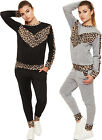 Womens Leopard Print Tracksuit Lounge Wear Top Pants Ladies Jogging Suit 8-14