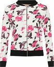 Womens Abstract Rose Bomber Jacket Ladies Floral Print Long Sleeve Zip Stretch