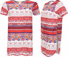 Womens Side Slit Curved Hem Top Ladies Aztec Print Short Sleeve Baggy T-Shirt