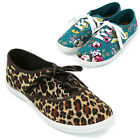 Womens Floral Animal Print Lace Up Flat Canvas Plimsoll Sneaker Casual Shoes New