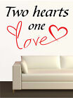 "WALL STICKERS ADESIVI MURALI "" Two hearts one love "" INNAMORATI AMORE Cuore casa"