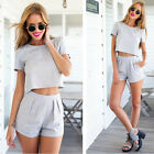 Womens Two Piece Crop Top and Shorts Co-ord Ladies Playsuit Dress Pants Set