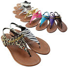 Womens T-Strap Thong Sandals Buckle Slingback Gladiator Flat Summer Shoes New