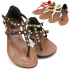 Womens Studded T-Strap Thong Sandals Buckle Gladiator Flat Summer Shoes-DAMAS