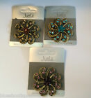 Antique Gold Coloured  Crystal Flower Brooch Various Colours