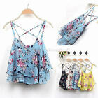 Korean Women Sleeveless Floral Vest Tank Chiffon Tops Blouse T shirt One Size