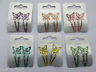 Small Girls Glitter Epoxy Butterfly Sleepies Hair Clips (471)