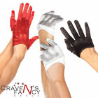 Ladies Mini Cropped Black Red White Satin Gloves by Leg Avenue Fancy Dress New